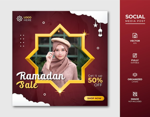 Ramadan fashion sale social media post-sjabloon.