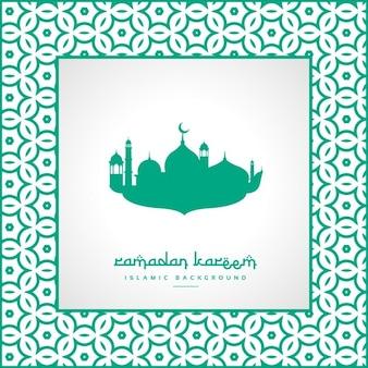 Ramadan festival groet met moskee en patroonkader