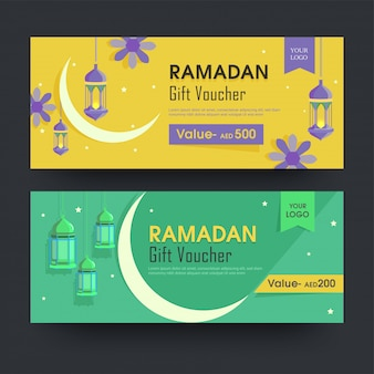 Ramadan gift voucher-lay-out met verschillende kortingsaanbieding in twee