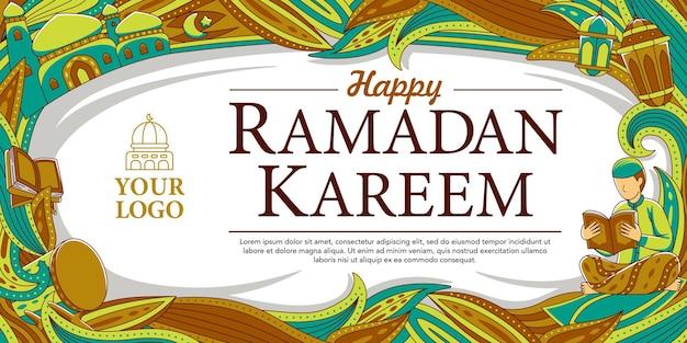 Ramadan horizontaal ontwerp in platte ontwerpstijl