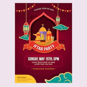 Ramadan iftar flyer met feestontwerp