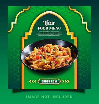 Ramadan iftar menu instagram post social media template