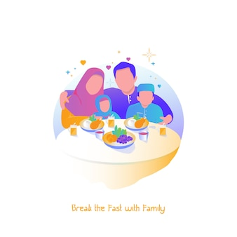 Ramadan illustratie, breek het vasten met het gezin