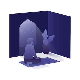 Ramadan illustratie met de mens bidden in moskee bij nacht dag