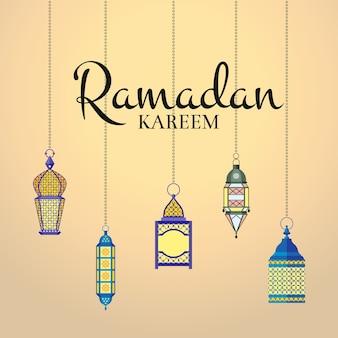 Ramadan illustratie met hangende lantaarns en arabisch stadssilhouet. arabische islamitische kareem-viering