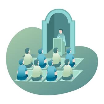 Ramadan illustratie met volkeren zitten en luisteren docent spreken binnen moskee