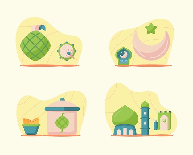 Ramadan-illustraties in moderne vlakke stijl