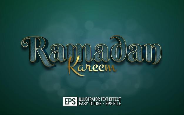 Ramadan kareem 3d tekst bewerkbare stijl effect sjabloon