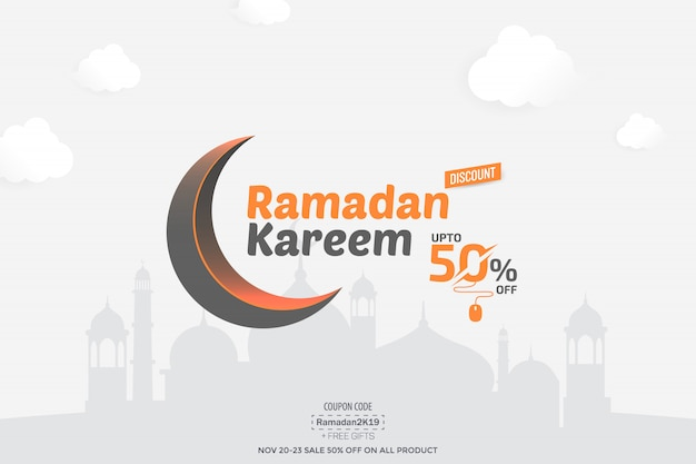 Ramadan kareem 50% verkoopbanner