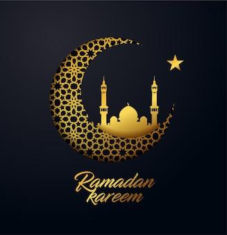 Ramadan kareem achtergrond gemaakt van glanzend gouden sieraad