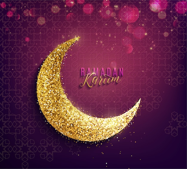 Ramadan kareem achtergrond. gouden wassende maan, tekst belettering groet en lichteffect.