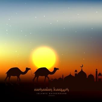 Ramadan kareem achtergrond in de avondlucht met zon