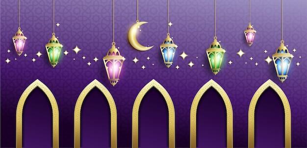 Ramadan kareem achtergrond in paarse kleur