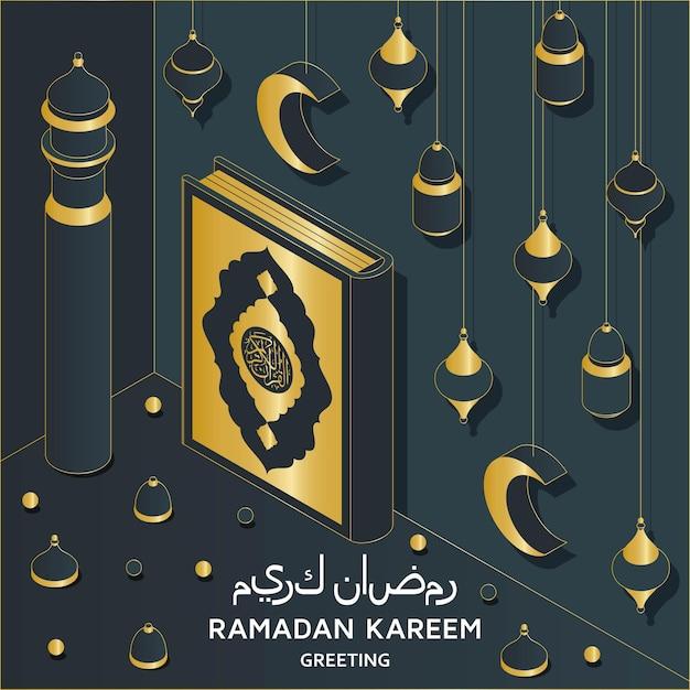 Ramadan kareem achtergrond isometrische islamitische arabische moskee lantaarns c