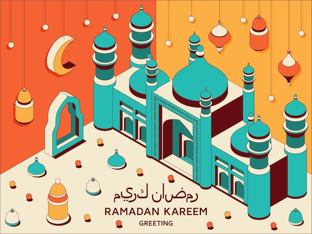 Ramadan kareem achtergrond isometrische islamitische arabische moskee lantaarns