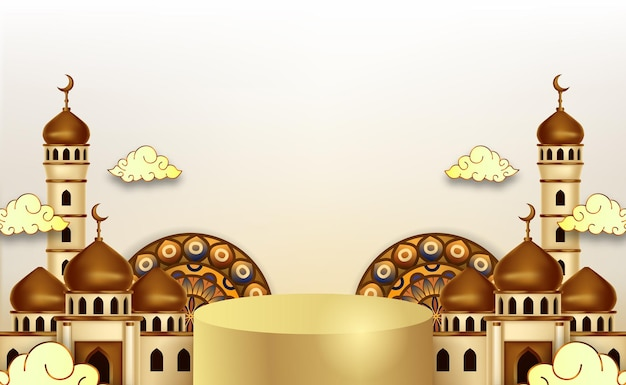 Ramadan kareem-achtergrond met 3d luxepodium en lanters