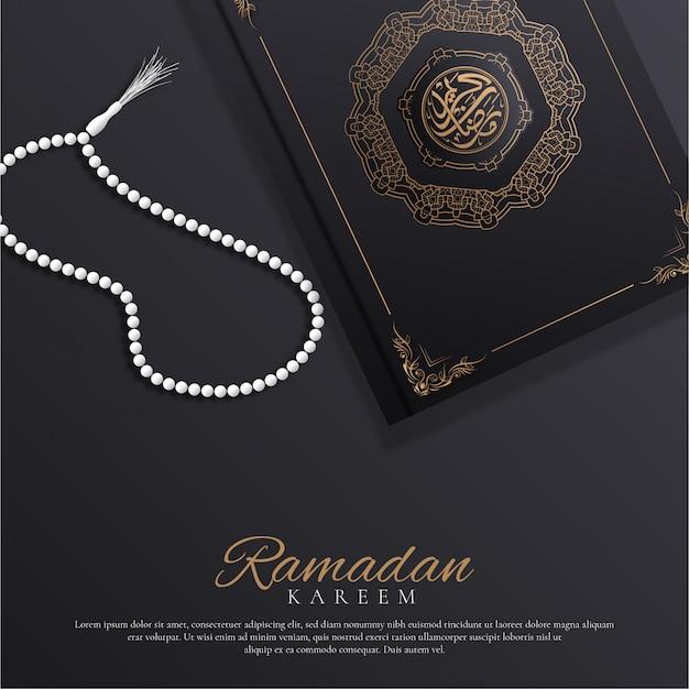 Ramadan kareem achtergrond met gebedssnoer en arabisch boek