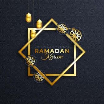Ramadan kareem achtergrond met hangende lampen