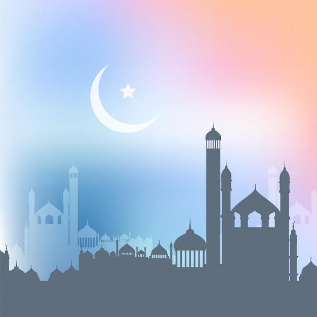 Ramadan kareem-achtergrond met landschap van moskees