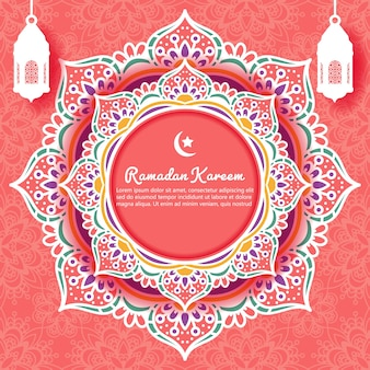 Ramadan kareem achtergrond met mandala sieraad