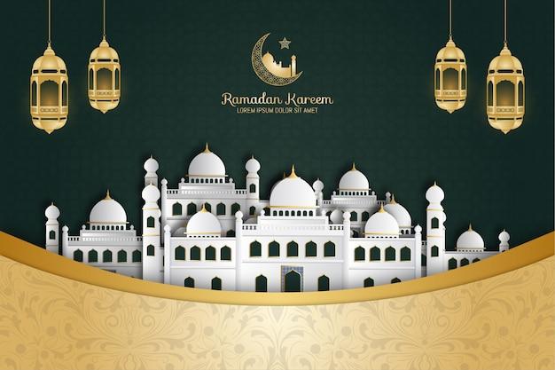 Ramadan kareem-achtergrond met moskee en arabische lantaarn