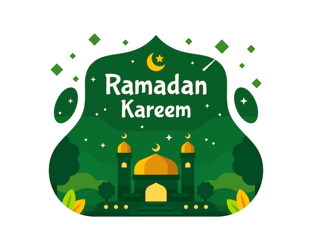 Ramadan kareem achtergrond met moskee illustratie