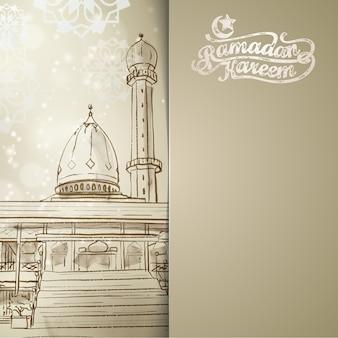 Ramadan kareem achtergrond met moskee lijn schets