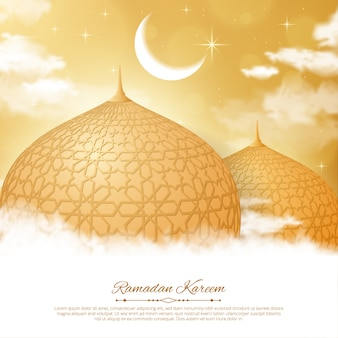 Ramadan kareem achtergrond met moskee, maan en ster