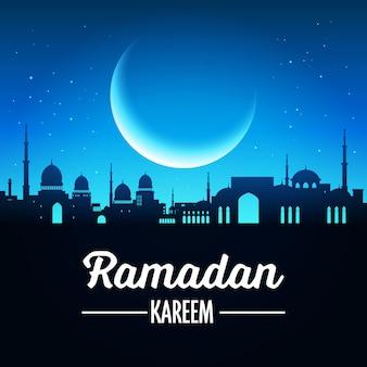Ramadan kareem-achtergrond met moskee