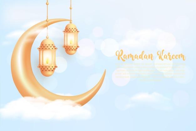 Ramadan kareem-achtergrond met realistische gouden lantaarns en wassende maan