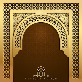 Ramadan kareem achtergrond moskee deur goud