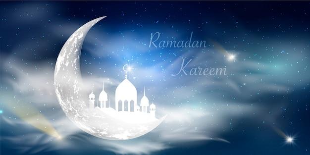 Ramadan kareem achtergrond. religie heilige maand. kalligrafie. lichte maan. wolken. tempel met koepels. oude moslimstad.