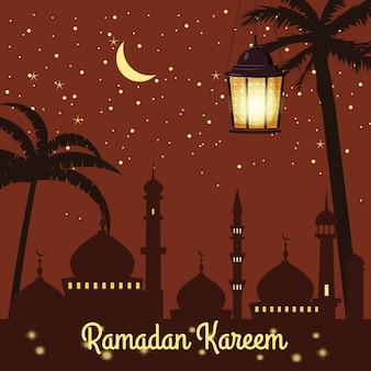 Ramadan kareem achtergrond silhouetten van de moskee heldere maan, nacht, sterrenhemel, lantaarns, palmbomen, briefkaart, vector, geïsoleerd, illustratie