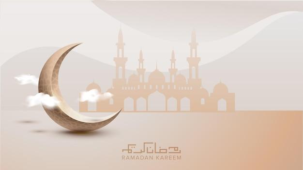 Ramadan kareem achtergrond sjabloon met wassende maan