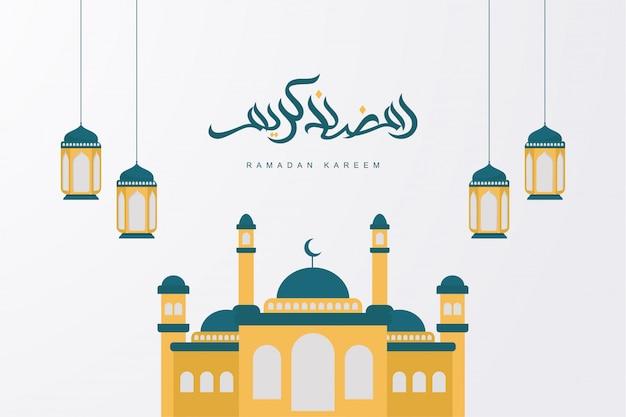 Ramadan kareem arabische kalligrafie met moskee en lantaarn