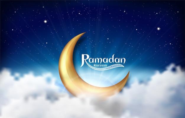 Ramadan kareem arabische kalligrafie. ontwerp islamitisch met gouden maan