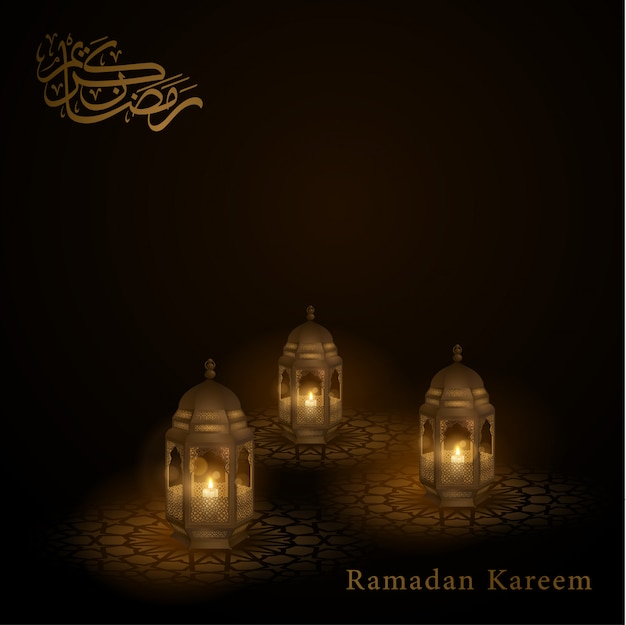 Ramadan kareem-arabische lantaarn van het groetontwerp