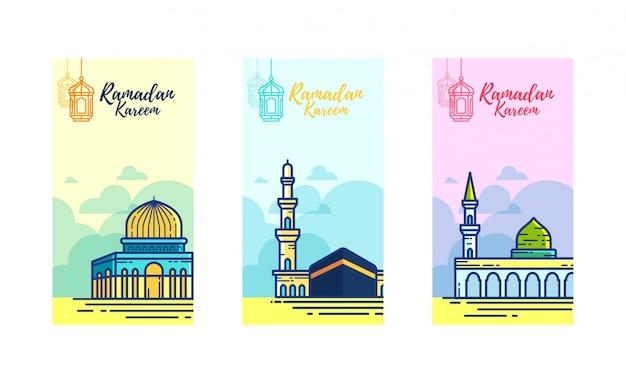 Ramadan kareem banner met 3 heilige moskee