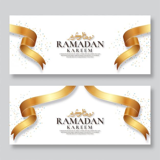 Ramadan kareem banner met gouden lint