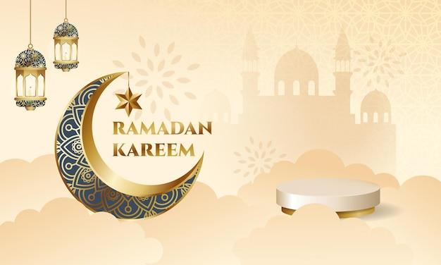 Ramadan kareem-banner met leeg podium voor productvertoning elegante stijl