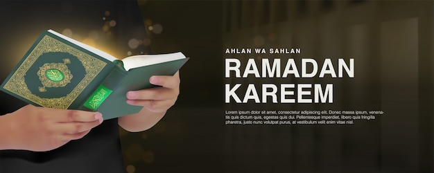 Ramadan kareem-bannermalplaatje met 3d realistische man die koranontwerp lezen.