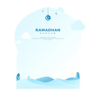Ramadan kareem begroetende achtergrond met woestijn in minimalistische lichtblauwe kleur