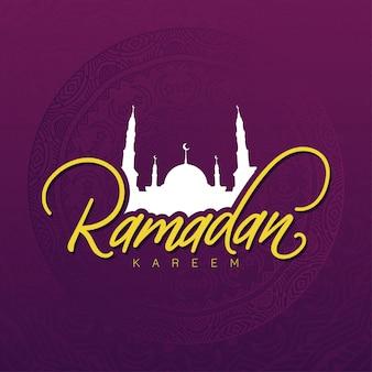 Ramadan kareem belettering op mandala achtergrond