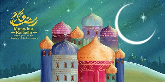 Ramadan kareem betekent gulle vakantie met kleurrijke moskee 's nachts woestijn