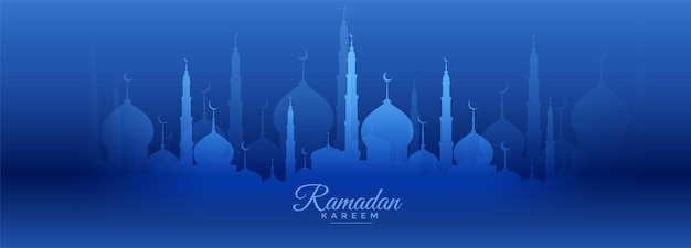 Ramadan kareem blauwe banner met moskeeontwerp