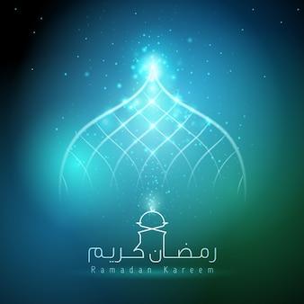 Ramadan kareem blauwe gloed licht moskee koepel islamitische halve maan en ster
