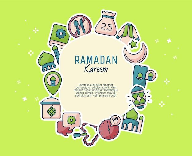 Ramadan kareem-cadeaukaartsjabloon met moderne vlakke stijl en ramadan-elementen