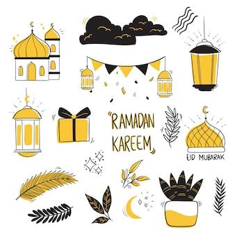 Ramadan kareem-collectie met handgetekende stijl