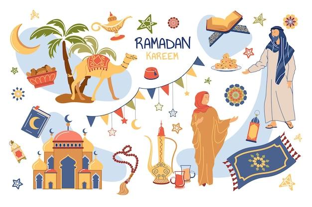 Ramadan kareem concept geïsoleerde elementen set