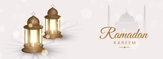 Ramadan kareem concept met 3d verlichte lantaarns op witte silhouet moskee achtergrond. Premium Vector